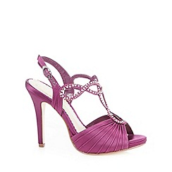 Debut - Purple ruched rhinestone strap high sandals