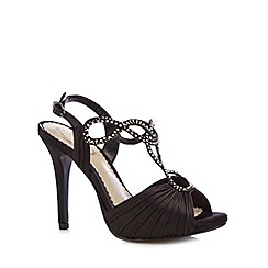Debut - Black ruched rhinestone strap high sandals