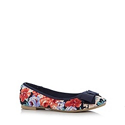 Red Herring - Navy floral bow applique pumps