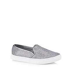 Red Herring - Silver metallic textured slip on shoes