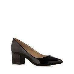 Red Herring - Black patent mid block heel court shoes