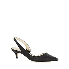 Red Herring - Black mock croc slingback mid court shoes