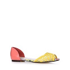 Red Herring - Yellow lace colour block pumps