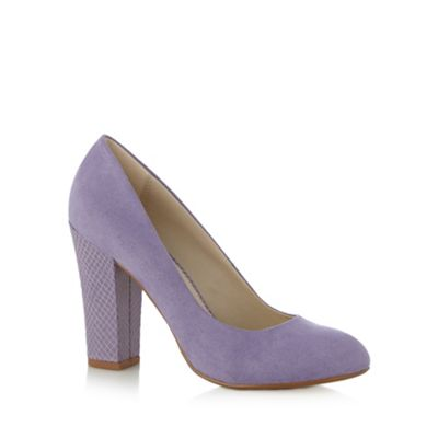 Red Herring Lilac suedette snakeskin heel high court shoes