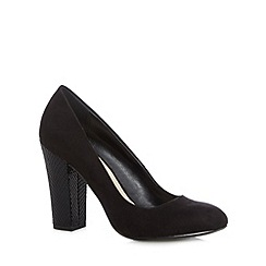 Red Herring - Black suedette high heel block court shoes