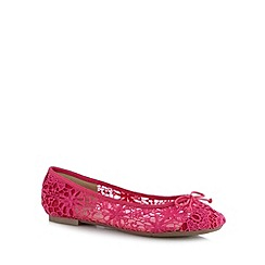 Red Herring - Bright pink structured lace pumps