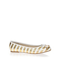 Red Herring - Gold glitter banjo striped slip on shoes