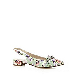 Red Herring - Green heart textured floral pumps