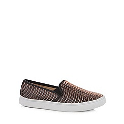 Red Herring - Dark peach snake skin print slip-ons