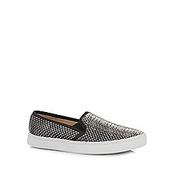 Red Herring - Black snake skin print slip-ons