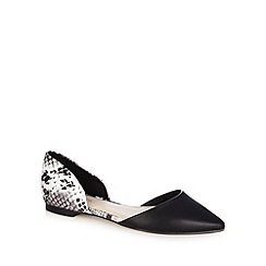 Red Herring - Black monochrome snakeskin pointed toe shoes