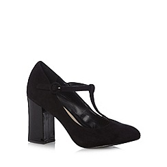Red Herring - Black suedette T-bar strap high court shoes