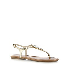Red Herring - Gold jewel embellished flat sandals