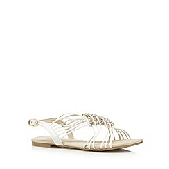 Red Herring - White diamante weave multi strap sandals