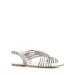 Red Herring - Grey metallic diamante sandals