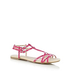 Red Herring - Bright pink strappy synthetic flat sandals