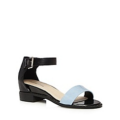 Red Herring - Black synthetic strap low wedge sandals