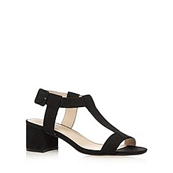 Red Herring - Black buckle suedette mid sandals