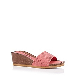 Good for the Sole - Coral studded strap wide fit mid wedge sandals