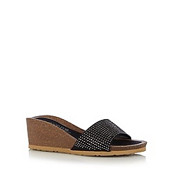 Good for the Sole - Black studded strap wide fit mid wedge sandals