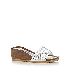 Good for the Sole - White studded strap wide fit mid wedge sandals