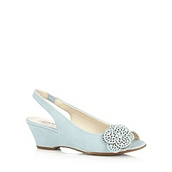 Good for the Sole - Light blue floral applique mid sandals