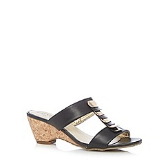 Good for the Sole - Black layered bar wide fit mid wedge sandals