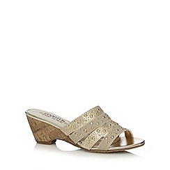Good for the Sole - Gold embellished cork wide fit mid sandals