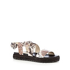 Red Herring - Light pink mock snake flat espadrille sandals