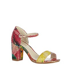 Red Herring - Bright pink weave print high sandals