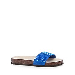 Red Herring - Blue beaded textured flat sandals