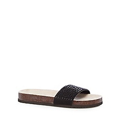 Red Herring - Black beaded textured flat sandals
