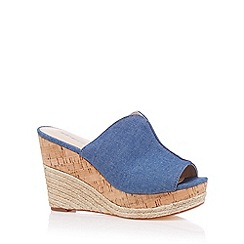 Red Herring - Blue denim high stacked wedge sandals