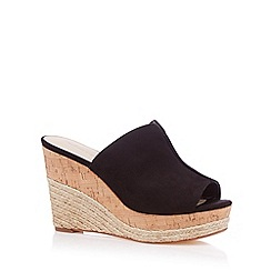 Red Herring - Black suedette high stacked wedge sandals