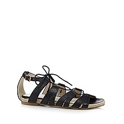 Red Herring - Black snakeskin lace up sandals