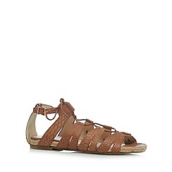 Red Herring - Light tan snakeskin lace up sandals