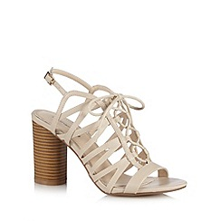 Red Herring - Light tan cutout lace up high sandals