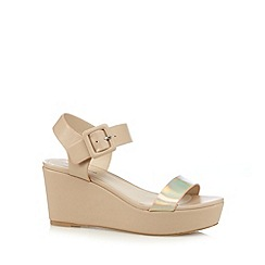 Red Herring - Natural metallic strap high wedges
