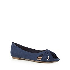 Mantaray - Navy knot flat slip on shoes