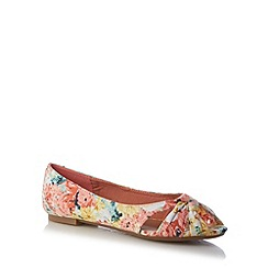 Mantaray - Pink floral knotted peep toe pumps
