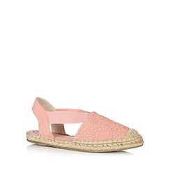 Mantaray - Pink embroidered floral espadrille pumps