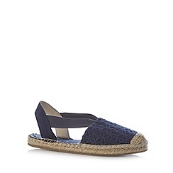 Mantaray - Navy embroidered floral espadrille pumps