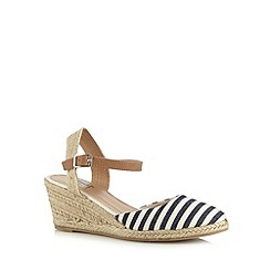 Mantaray - Navy striped rope wedge shoes