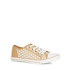 Mantaray - Beige spotted canvas lace up trainers