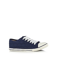 Mantaray - Navy broderie lace up trainers