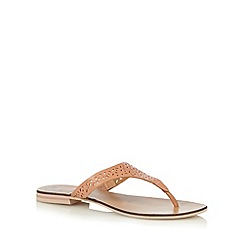 Mantaray - Light pink leather cutout toe post sandals