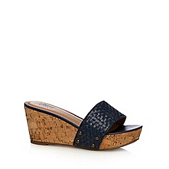 Mantaray - Navy weave high wedges