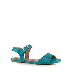 Mantaray - Turquoise woven flat sandals