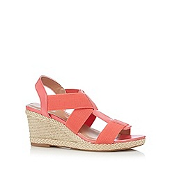 Mantaray - Bright coral elastic strap high wedge sandals
