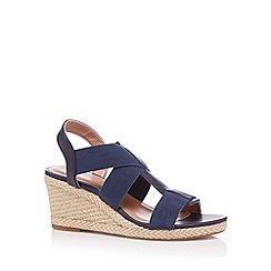 Mantaray - Navy elastic strap high wedge sandals